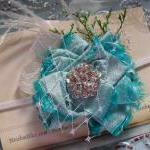 Mint Aqua Flower Baby Headband, Bab..