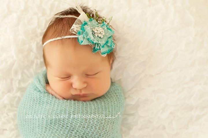 Mint Aqua Flower Baby Headband, Baby Flower Headband, Raw Silk Flower Headband