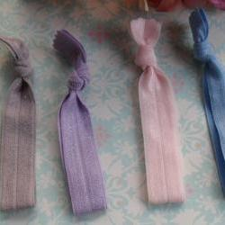 Pony Tail Ties Be New: Grey, Lilac, Light Pink, Light Blue, and White