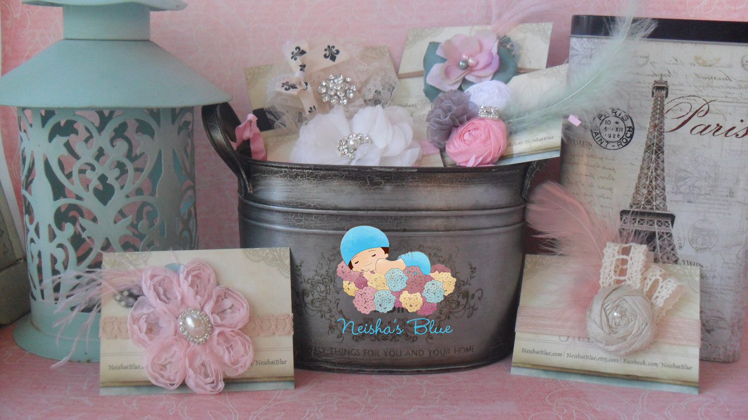 Baby Girl Gift Basket Set, Baby Shower Gift, The Ideal Perfect Gift, Over  55 Dollars Worth Of Baby Girl Headbands